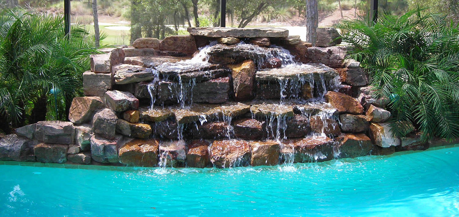 enjoy your own swimming pools with waterfalls and slide